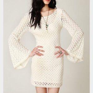 Free People Lace Crochet Bell Sleeve Boho Dress L